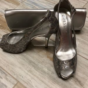 Guess shimmering silver and gold heels.